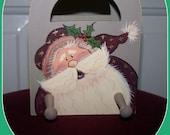 Santa Claus, Stocking Hanger, Christmas Decor, Handpainted Folk Art, Wood Box