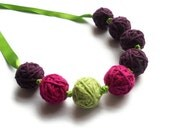 Cotton Necklace - Aubergine, Fuchsia and Lime (Free UK Shipping)