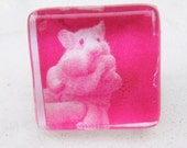 Hot pink post earrings glass square. Hamster funny cute  (29)