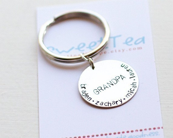 custom hand stamped sterling key chain.