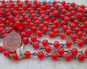 Vintage 6mm Bittersweet Orange Red Glass Bead Rosary Style Chain Japan 3 Feet