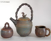 STUDIO SALE price, Stoneware Teaset teapot with creamer and suger bowl bamboo ash glaze R Mello TS-4