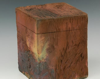 Raku fired hand built box M746