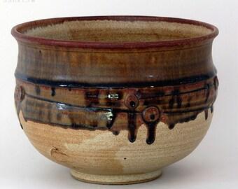 Studio sale...Stoneware bowl vessel shino like glaze under wood ash cone 10 R Mello AB8
