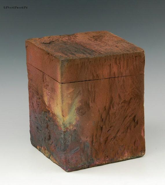 Raku fired hand built box M746