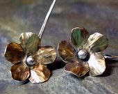 Flower Earrings Brass and Sterling Silver  - Goldenflower