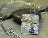 Dragonfly Pendant in Sterling Silver with Amethyst - Amethyst Moon