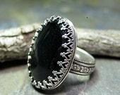Black Onyx Ring  Filigree Bezel sterling silver flower band garden jewelry - Midnight Garden