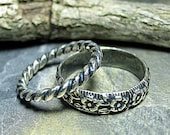 Sterling Silver Pattern Wire Stack Rings - Country Garden