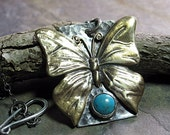 Butterfly Pendant in Brass, Sterling Silver and Turquoise - Butterfly Skies