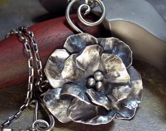 Rose Pendant Necklace Sterling Silver Metalsmith metalwork - Old World Rose