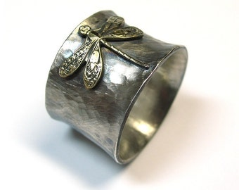 Sterling Silver Dragonfly Ring Wide Band Nature Jewelry art noveau brass insect  - Enchanted Dragonfly