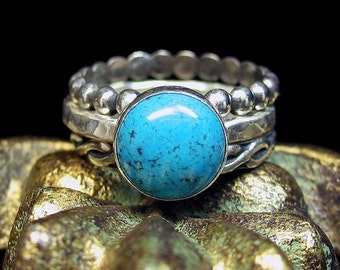 Turquoise Stacking Rings Sterling Silver Turquoise Jewelry - Skies of Blue