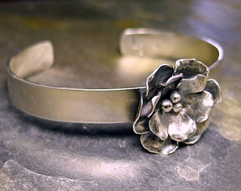 Flower Cuff Sterling Silver rose nature jewelry metalsmith - Old World Rose