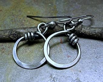 Sterling Silver Hoop Earrings Dangle - Little Wrapped Oh Petite Hoops
