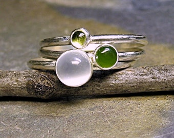 Sterling silver stacking rings, peridot, jade, moonstone - Rain Forest