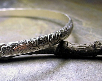 Sterling Silver Narrow bangle -  Silver Tapestry