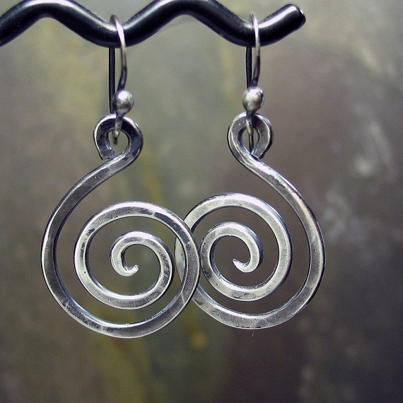 Spiral Earrings Sterling Silver Dangles - Antique Silver Swirls