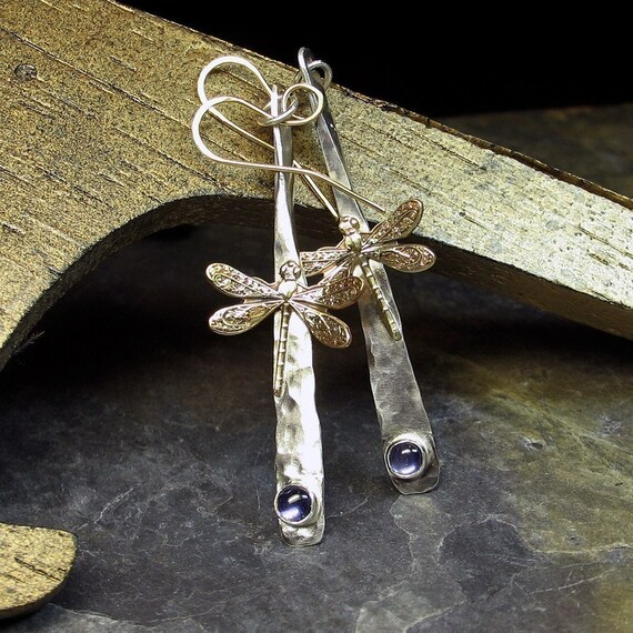 Dragonfly Dreams Earrings in Sterling Silver with choice of stone