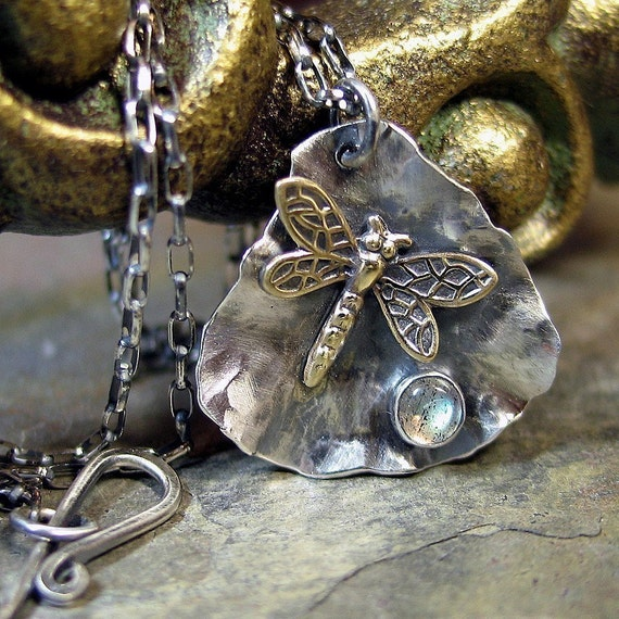 Dragonfly Pendant in Sterling silver with choice of gemstone - Dew on a Petal