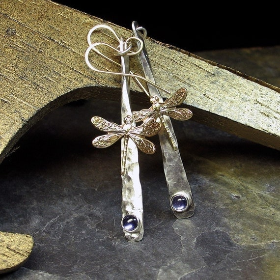 Dragonfly Earrings Hammered Sterling Silver - Dragonfly Dreams