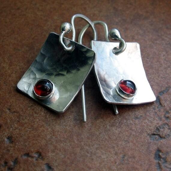 Hammered Sterling Silver Garnet Dangle Earrings - Petite Berries