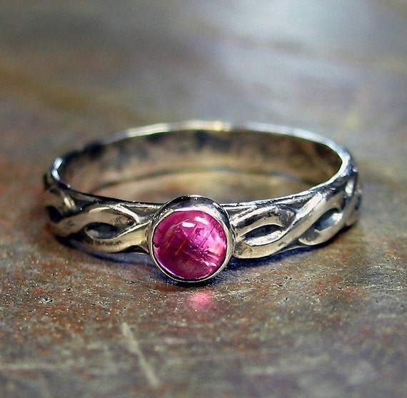 Sterling Silver and Tourmaline Ring - Pretty in Pink