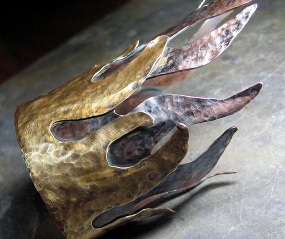 Flame Cuff in Copper and Brass