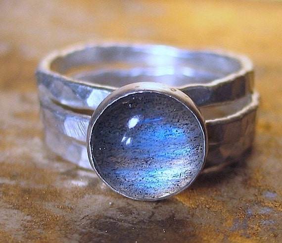Handmade Sterling Silver Stack Rings with Labradorite - Mists of Avalon
