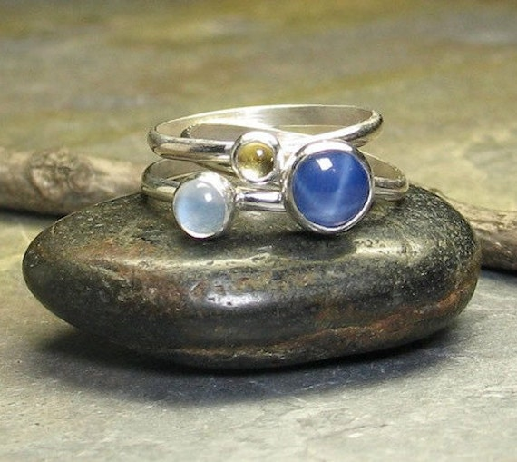 Stackable Rings - Star sapphire, moonstone, citrine - Sun, Moon and Stars