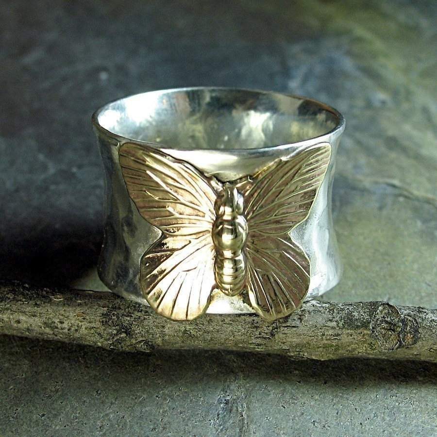 Butterfly ring sterling silver wide band brass handmade - photo#27