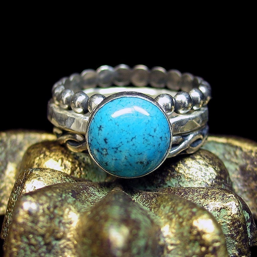 turquoise stacking rings sterling silver turquoise jewelry