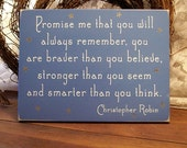 Wood Sign Promise me you will always remember Wall Decor Nursery Wall Art Child's Room