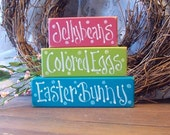 Jellybeans Colored Eggs Easter Bunny Shelf Sitter Sign Blocks