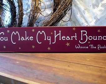 You Make My Heart Bounce Wood Sign Valentine Decoration Wall Decor Plaque, Wall Art Love