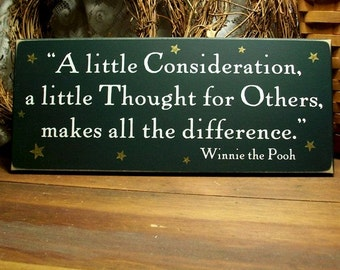 A Little Consideration Wood Sign Makes All The Difference Wall Decor, Inspirational Home Decor