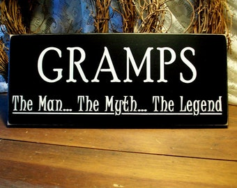Gramps The Man The Myth The Legend Wood Sign Wall Decor Plaque Father's Day