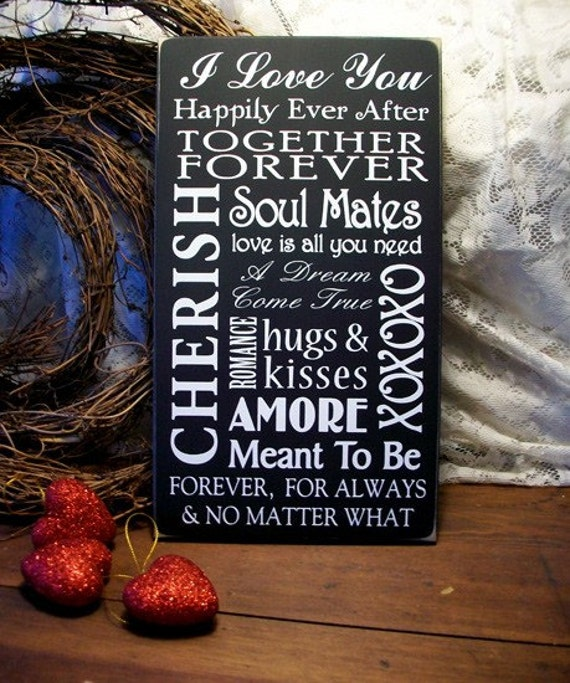 Words Of Love Wood Sign Wedding Valentine