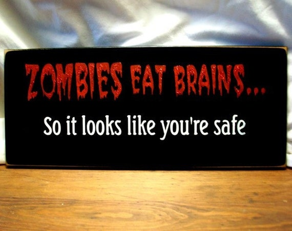 ZOMBIES Eat Brains Undead Sign Wood Halloween Wall Decor