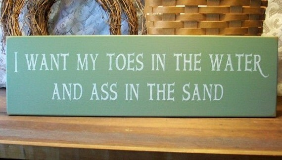Toes In The Water Beach Wood Sign Handcrafted Wall Decor