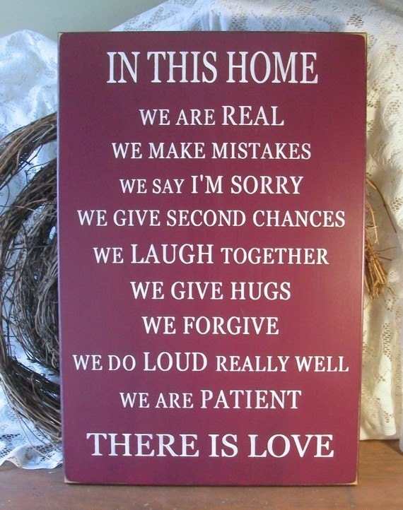 Family Wood Sign Love Painted Plaque Parents and Children Wall Art Burgundy