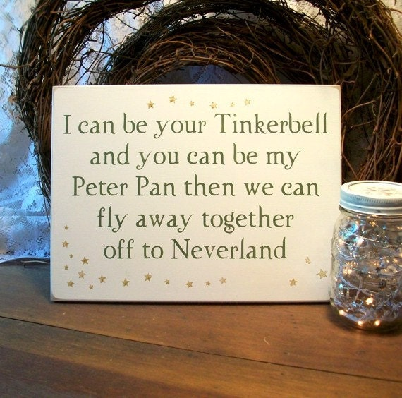 tinker bell and peter pan valentine sign by countryworkshop