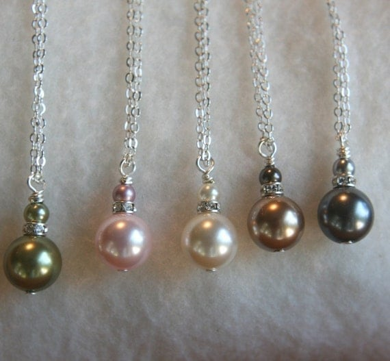 Simple and Elegant Swarovski Pearl Drop Necklace PICK YOUR