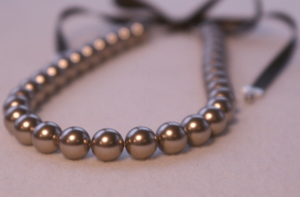 Brown 12mm swarovski pearl ribbon tie necklace for Ribbon tie necklace jewelry