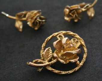 Vintage Rose gold toned pin brooch and clip on earrings set