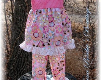 Crazy for Daisies Twirl Top, Pants, Peasant Top, Girls Boutique Outfit, Girls Spring Outfit, Ready to Ship, Size 3/4T, Pink Girls Outfit,