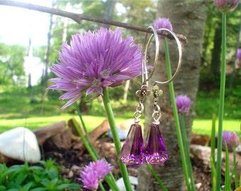 Custom earrings-Bella  earrings in Swarovski Amethyst crystal