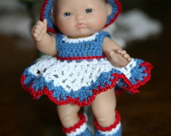 Crochet outfit Berenguer 5 inch baby doll  Red White Blue Eyelet Dress Set