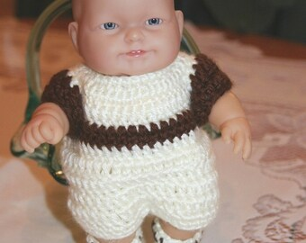 Crochet outfit for Berenguer 8 inch Lots to Love baby doll Romper one piece Cream Choc Brown Boyl