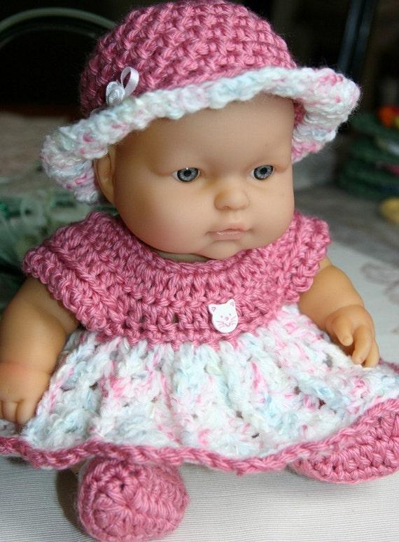 Crochet Pattern For Doll Diaper : Crochet outfit Berenguer 10 inch baby doll Dress Hat Diaper
